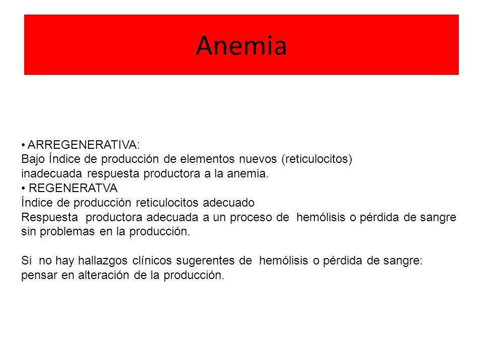 Si no hay hallazgos clínicos de hemólisis o pérdida de sangre: Pensar en Alteración de la producción.