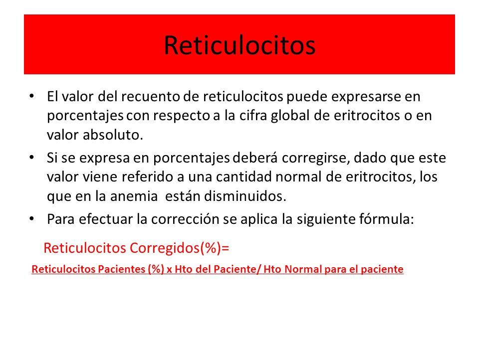 Reticulocitos Reticulocitos Corregidos(%)=