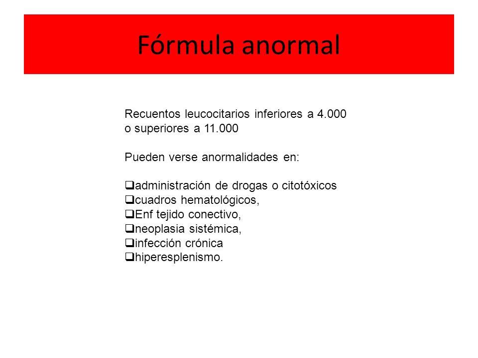 Fórmula anormal Recuentos leucocitarios inferiores a 4.000 o superiores a 11.000. Pueden verse anormalidades en: