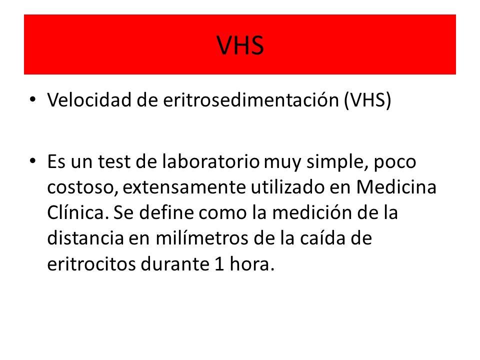 VHS Velocidad de eritrosedimentación (VHS)