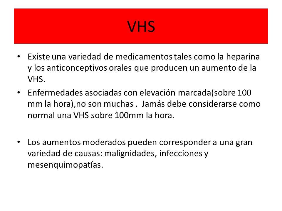 VHS Existe una variedad de medicamentos tales como la heparina y los anticonceptivos orales que producen un aumento de la VHS.