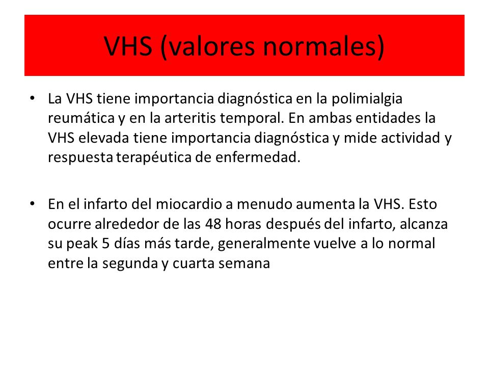 VHS (valores normales)