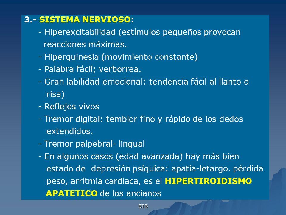 - Hiperexcitabilidad (estímulos pequeños provocan reacciones máximas.