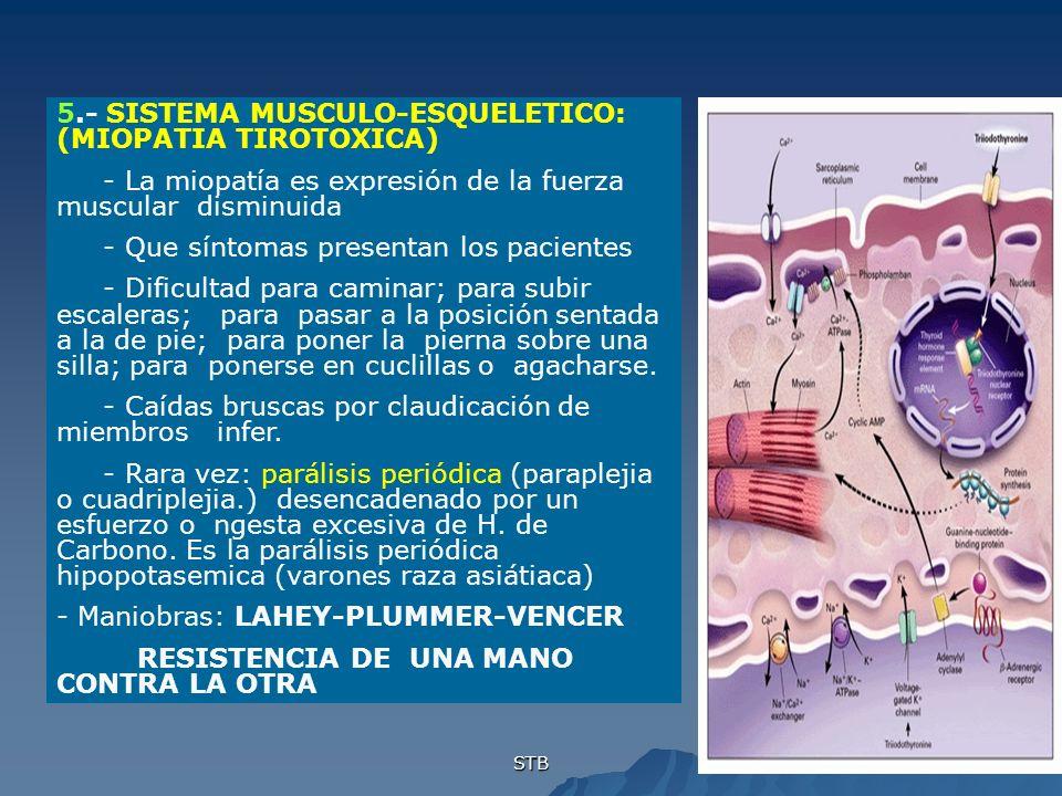5.- SISTEMA MUSCULO-ESQUELETICO: (MIOPATIA TIROTOXICA)