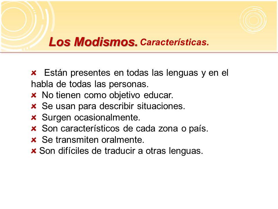 Los Modismos. Características.