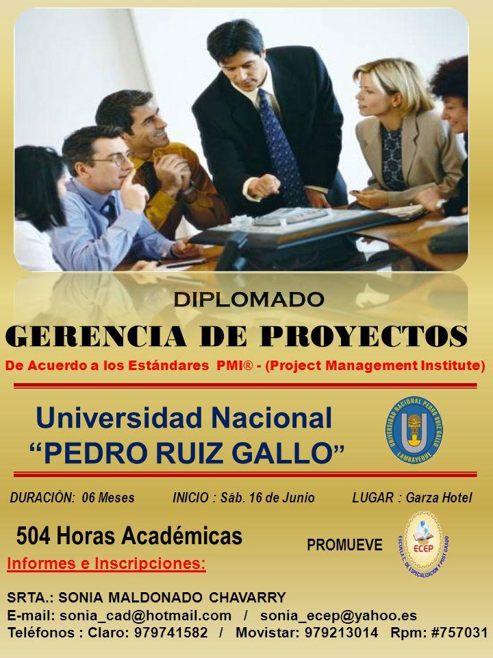 GERENCIA DE PROYECTOS Universidad Nacional PEDRO RUIZ GALLO