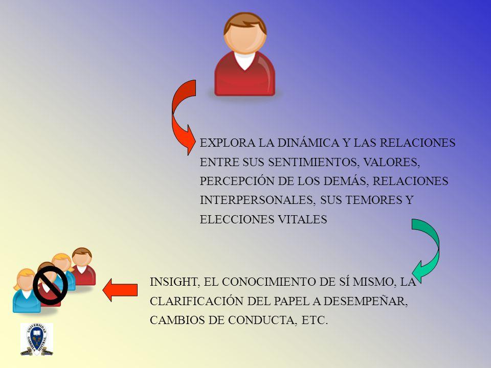 EXPLORA LA DINÁMICA Y LAS RELACIONES ENTRE SUS SENTIMIENTOS, VALORES, PERCEPCIÓN DE LOS DEMÁS, RELACIONES INTERPERSONALES, SUS TEMORES Y ELECCIONES VITALES