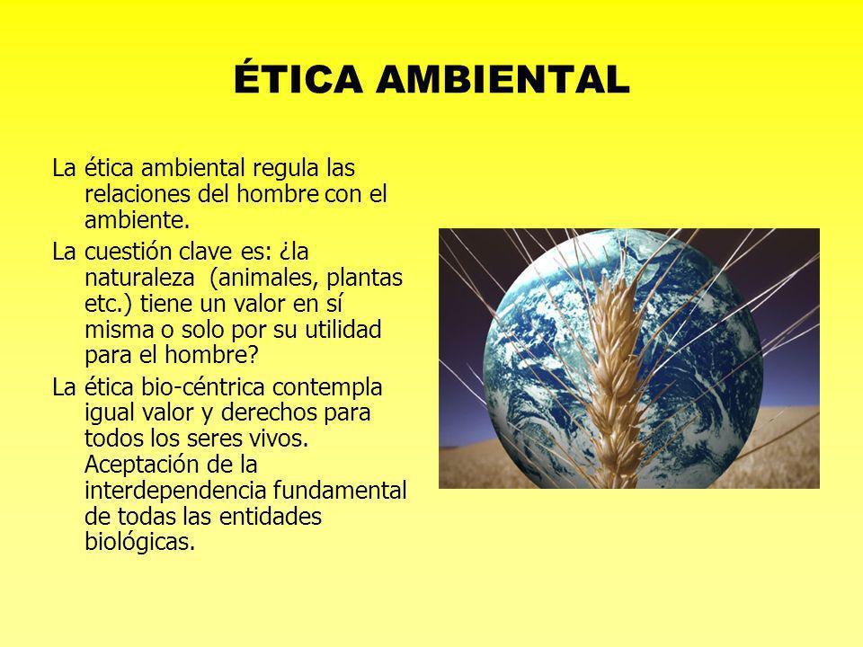 ÉTICA AMBIENTALLa ética ambiental regula las relaciones del hombre con el ambiente.
