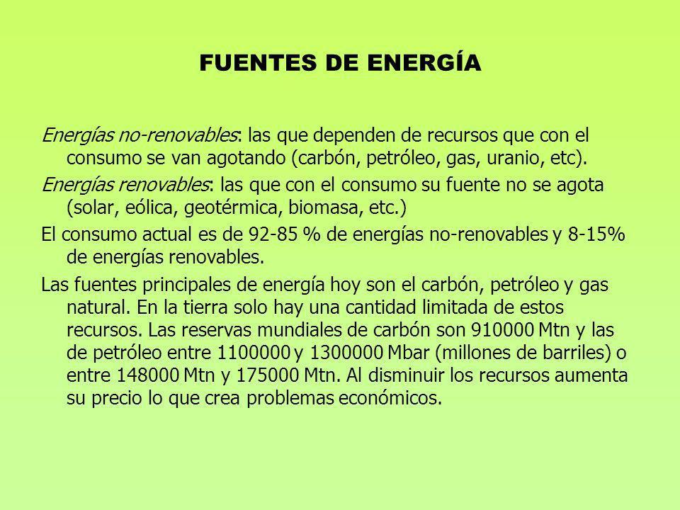FUENTES DE ENERGÍA Energías no-renovables: las que dependen de recursos que con el consumo se van agotando (carbón, petróleo, gas, uranio, etc).