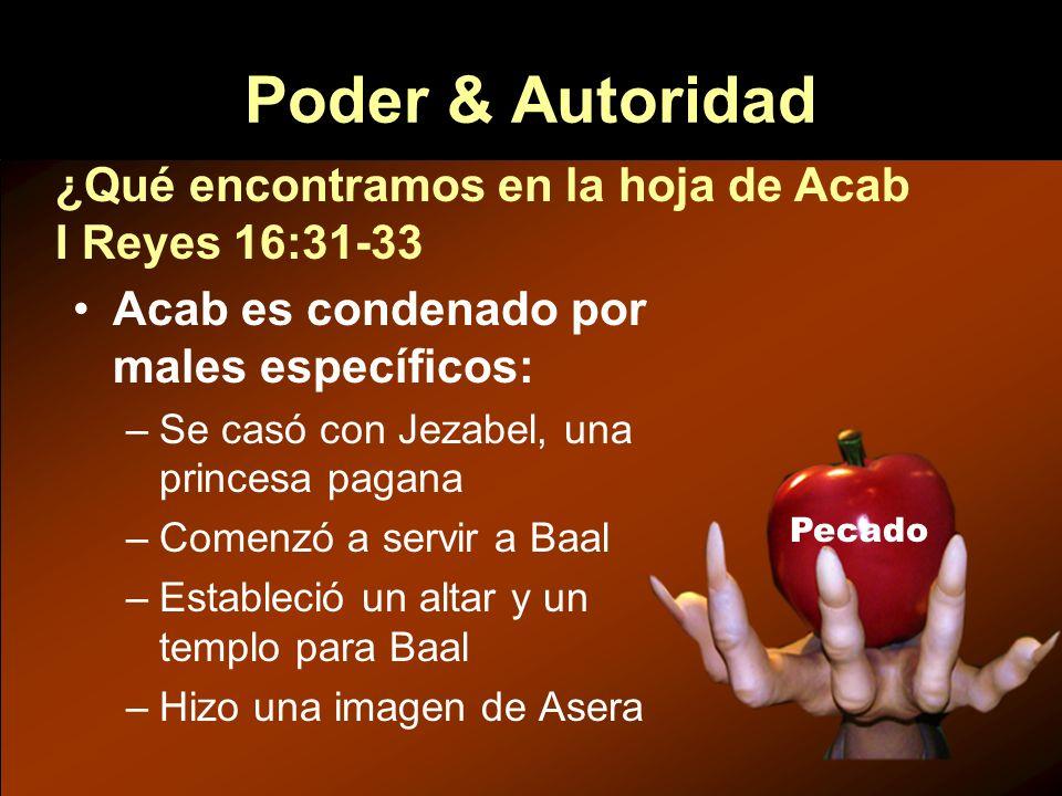 Poder & Autoridad ¿Qué encontramos en la hoja de Acab I Reyes 16:31-33