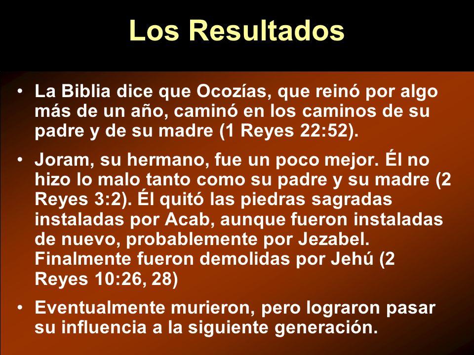 Los Resultados La Biblia dice que Ocozías, que reinó por algo más de un año, caminó en los caminos de su padre y de su madre (1 Reyes 22:52).