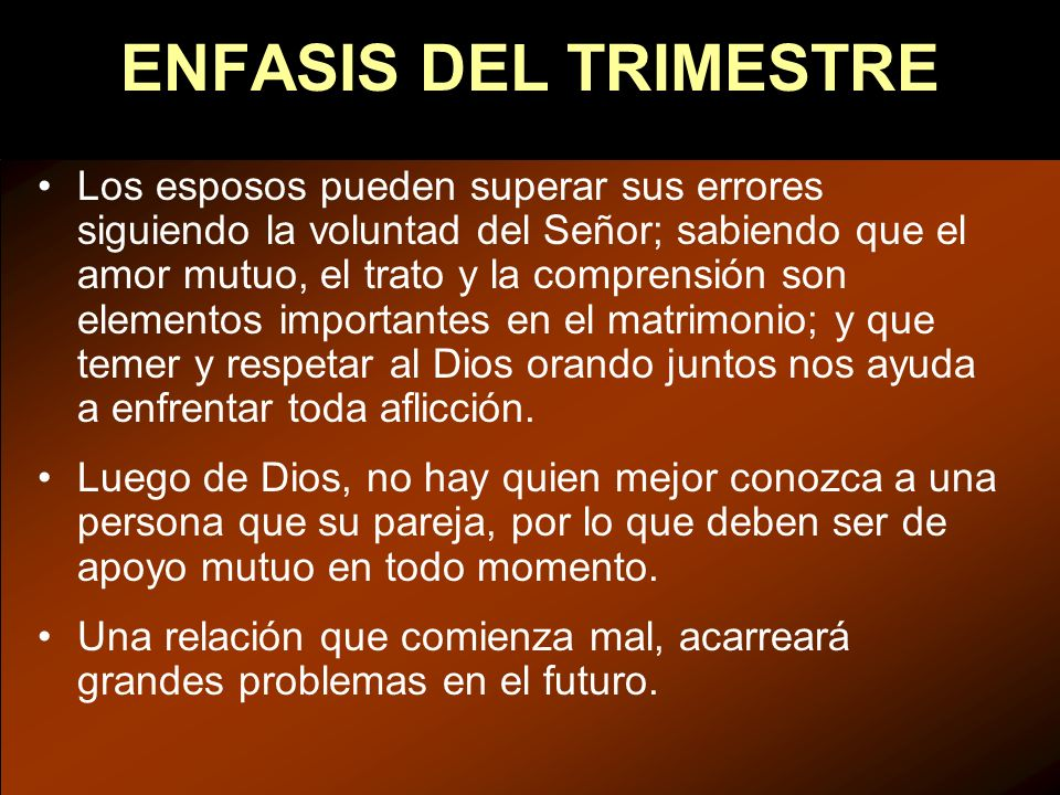 ENFASIS DEL TRIMESTRE