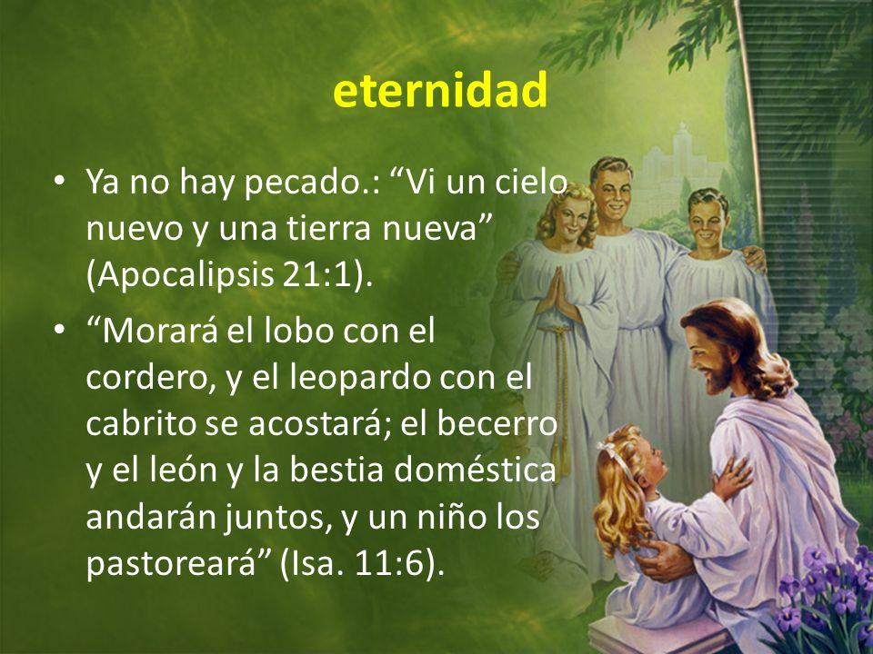 eternidadYa no hay pecado.: Vi un cielo nuevo y una tierra nueva (Apocalipsis 21:1).