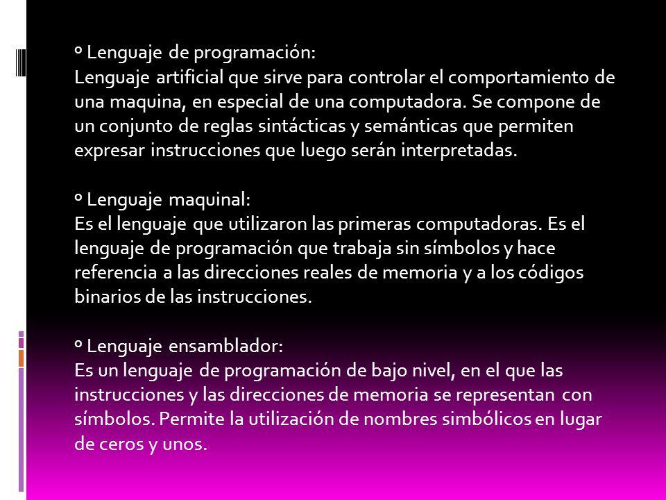 º Lenguaje de programación: