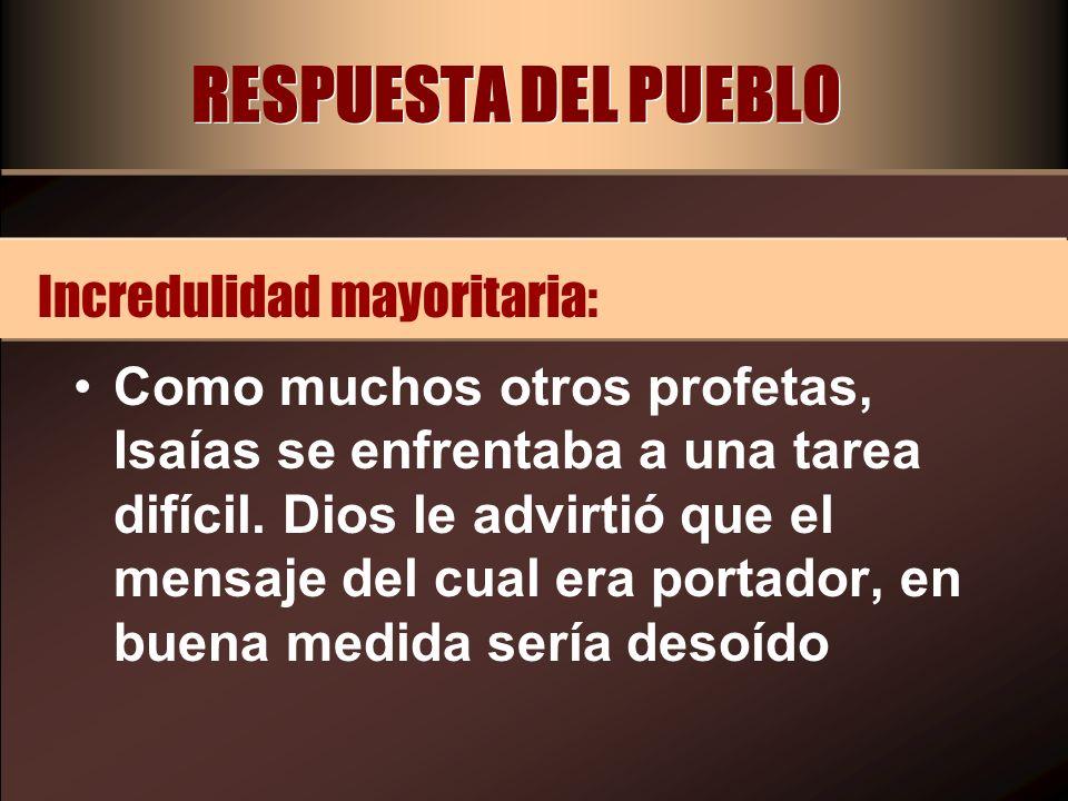 RESPUESTA DEL PUEBLO Incredulidad mayoritaria: