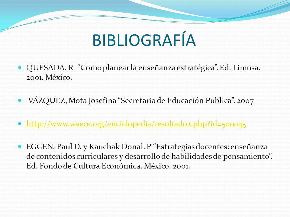 BIBLIOGRAFÍA QUESADA. R Como planear la enseñanza estratégica . Ed. Limusa. 2001. México.