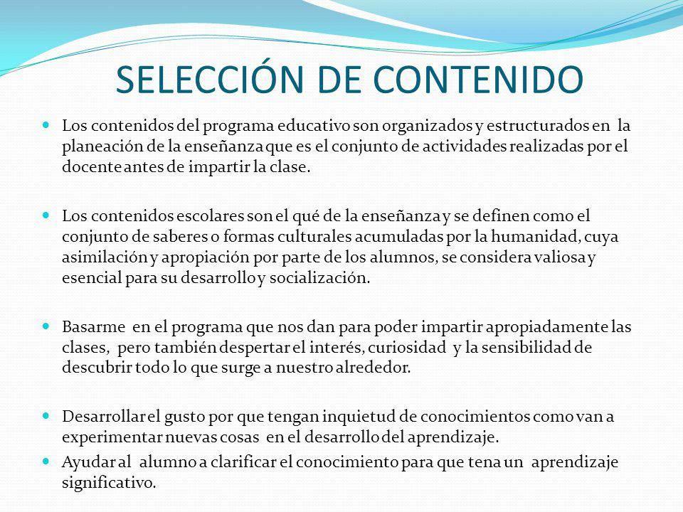 SELECCIÓN DE CONTENIDO