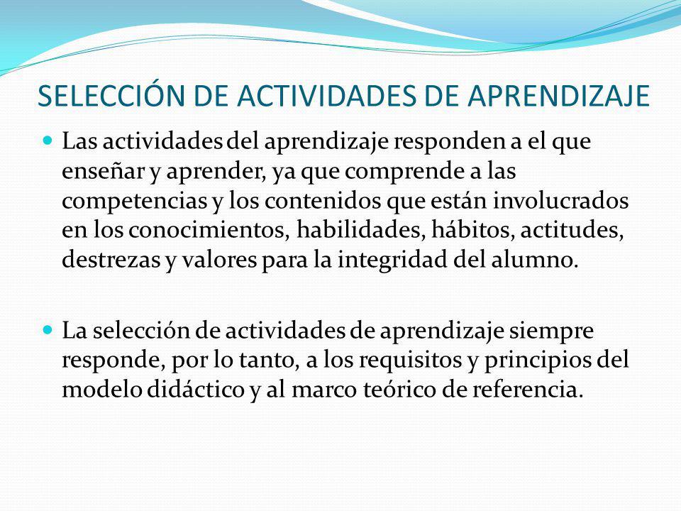 SELECCIÓN DE ACTIVIDADES DE APRENDIZAJE