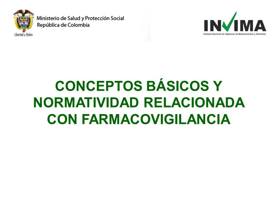 CONCEPTOS BÁSICOS Y NORMATIVIDAD RELACIONADA CON FARMACOVIGILANCIA