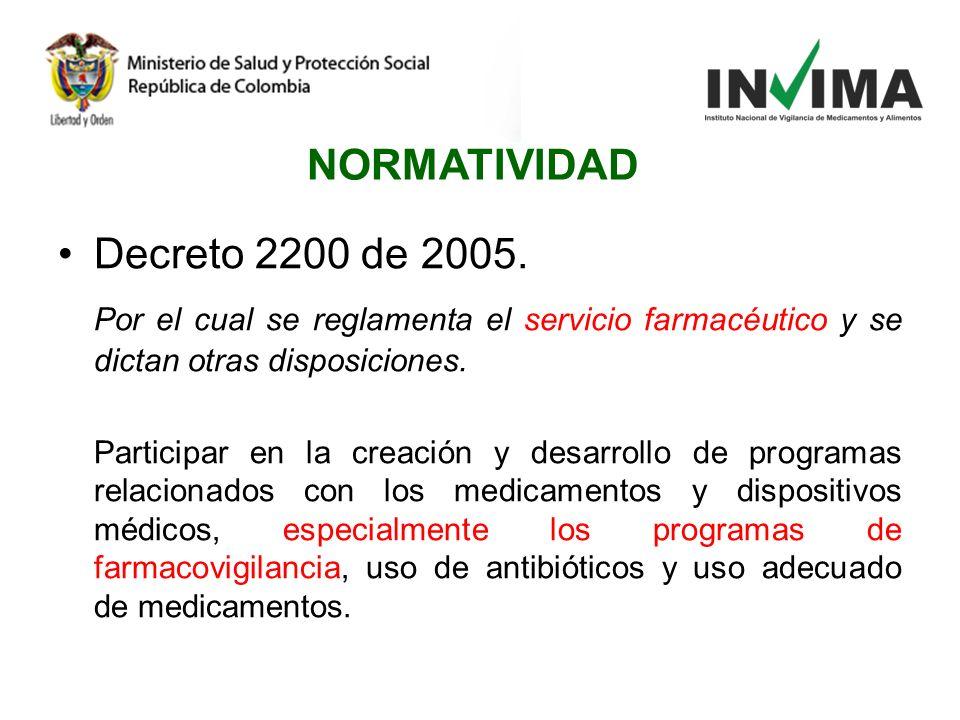 NORMATIVIDAD Decreto 2200 de 2005.
