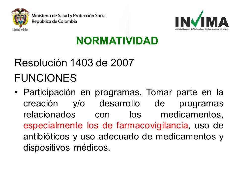 NORMATIVIDAD Resolución 1403 de 2007 FUNCIONES