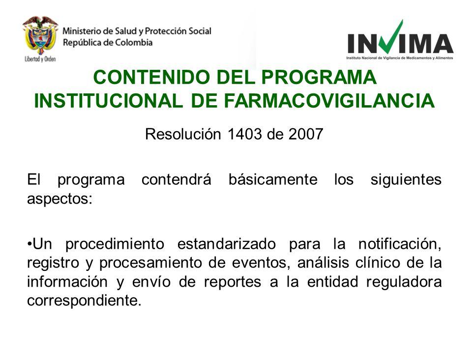 CONTENIDO DEL PROGRAMA INSTITUCIONAL DE FARMACOVIGILANCIA