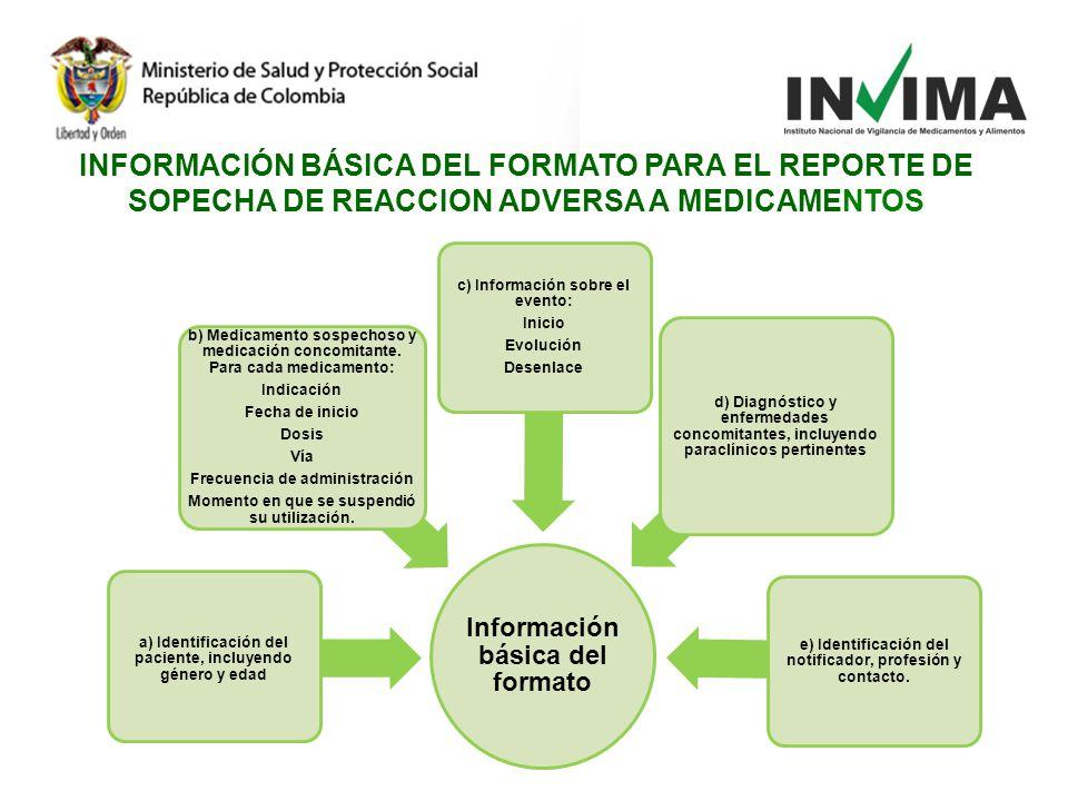 INFORMACIÓN BÁSICA DEL FORMATO PARA EL REPORTE DE SOPECHA DE REACCION ADVERSA A MEDICAMENTOS