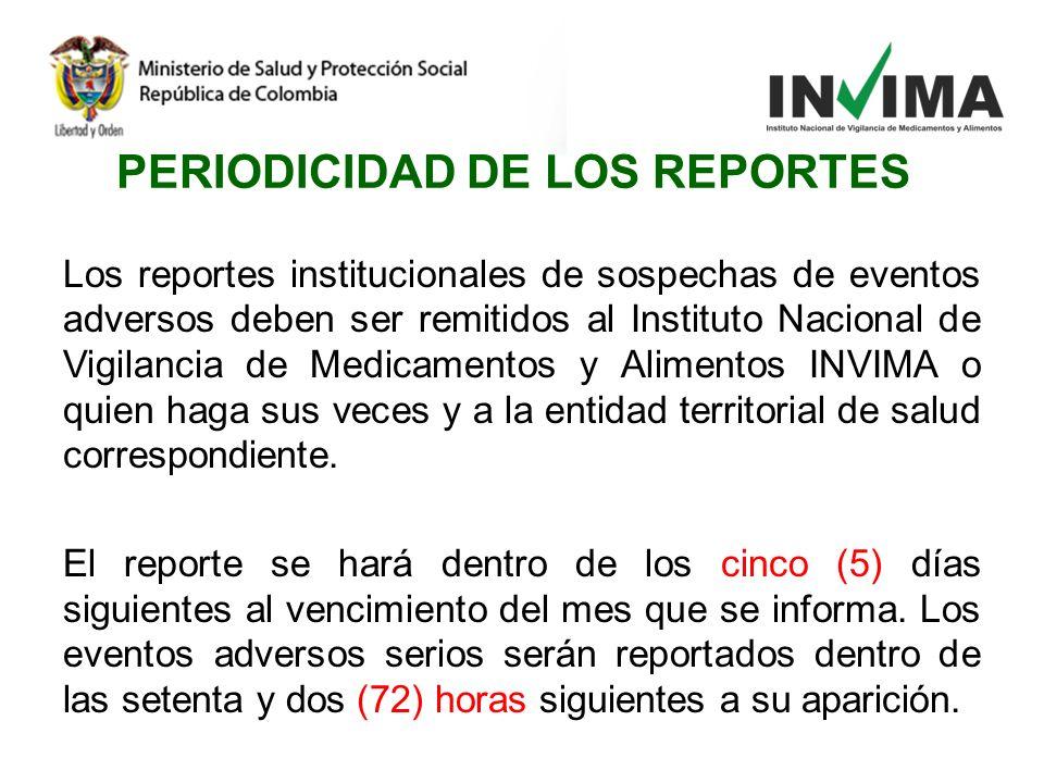 PERIODICIDAD DE LOS REPORTES