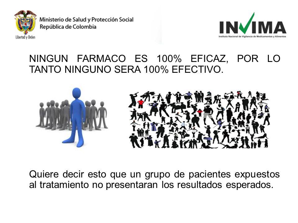 NINGUN FARMACO ES 100% EFICAZ, POR LO TANTO NINGUNO SERA 100% EFECTIVO