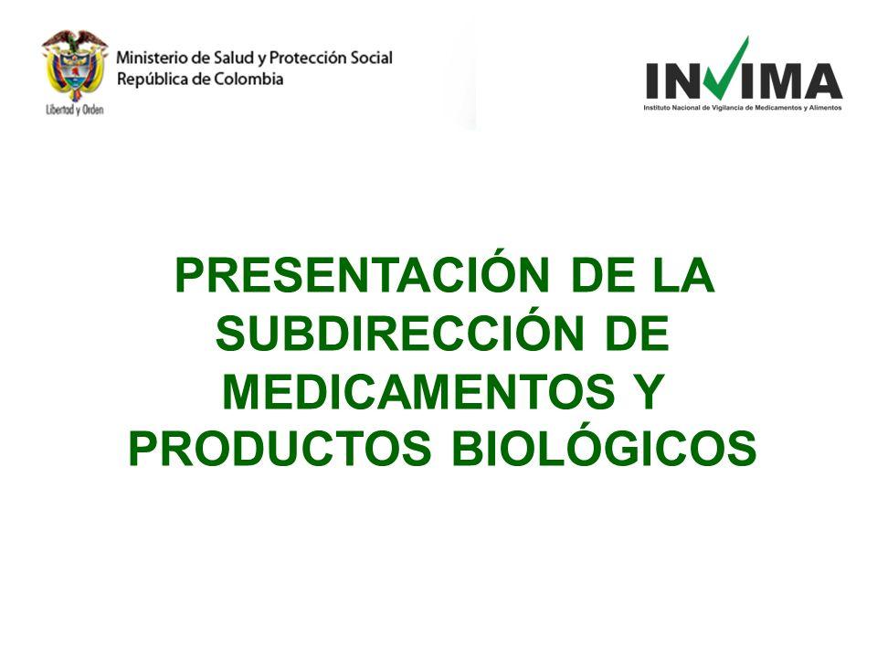 PRESENTACIÓN DE LA SUBDIRECCIÓN DE MEDICAMENTOS Y PRODUCTOS BIOLÓGICOS