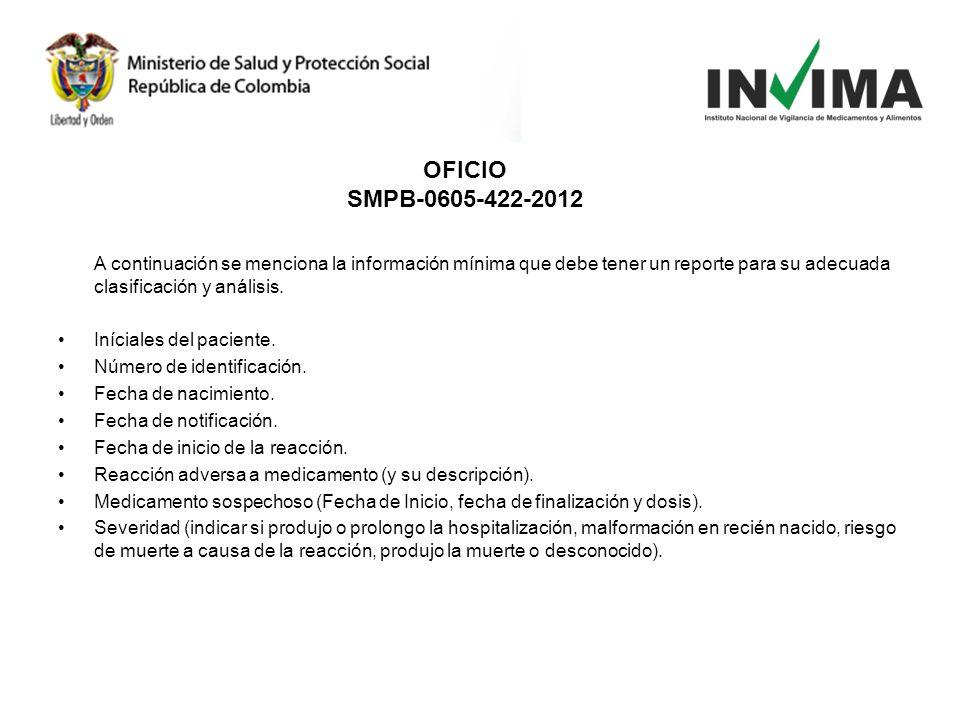 OFICIO SMPB-0605-422-2012. A continuación se menciona la información mínima que debe tener un reporte para su adecuada clasificación y análisis.