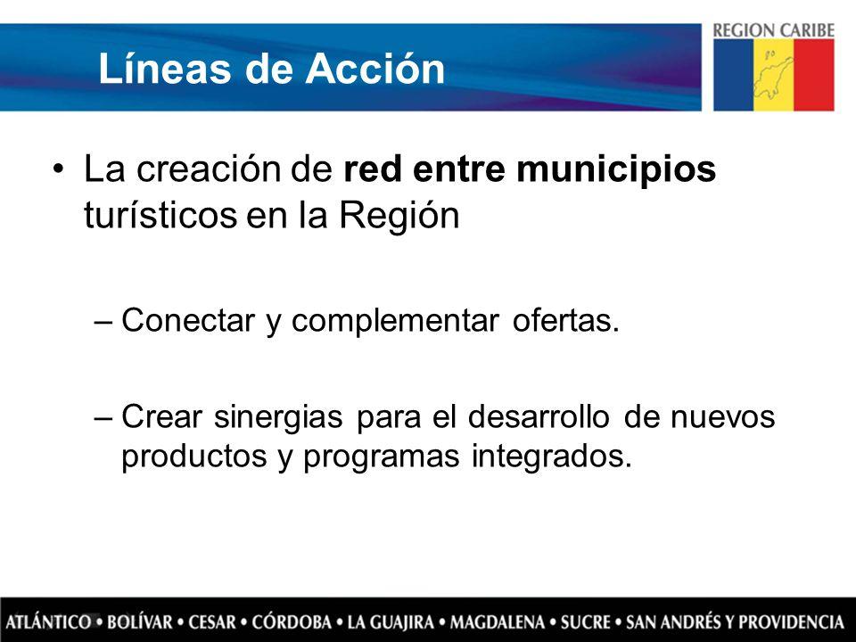 Líneas de Acción La creación de red entre municipios turísticos en la Región. Conectar y complementar ofertas.