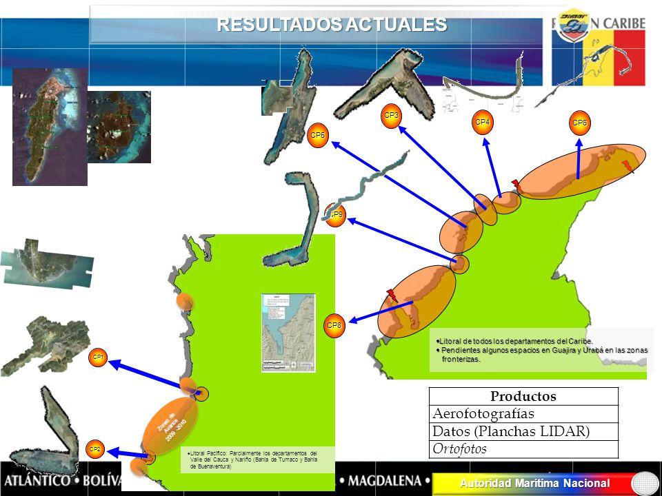 RESULTADOS ACTUALES Productos Aerofotografías Datos (Planchas LIDAR)