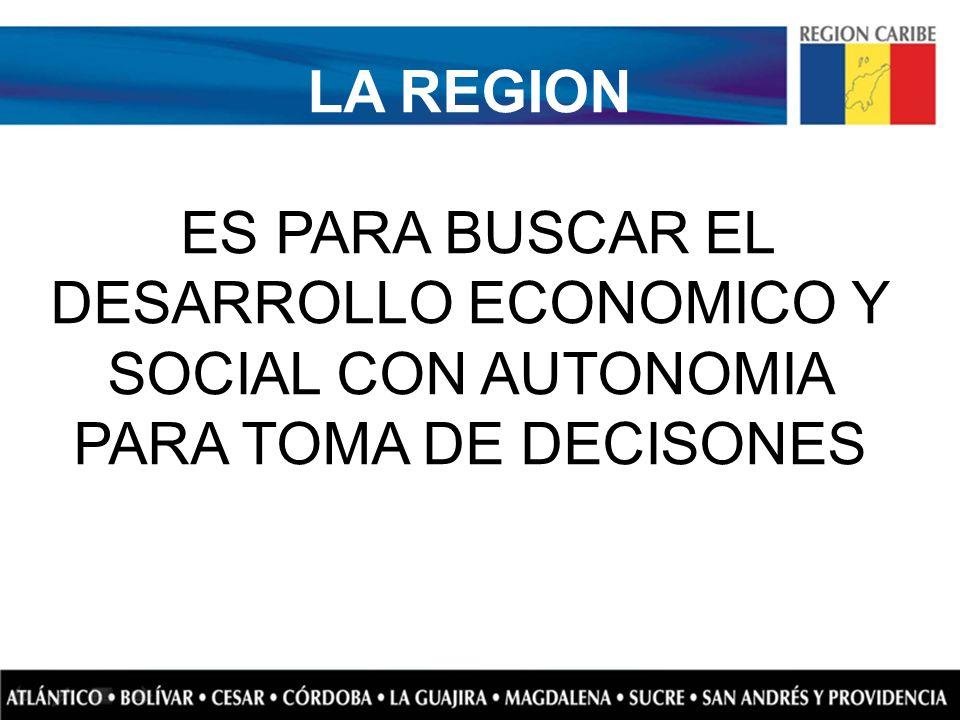 LA REGION ES PARA BUSCAR EL DESARROLLO ECONOMICO Y SOCIAL CON AUTONOMIA PARA TOMA DE DECISONES