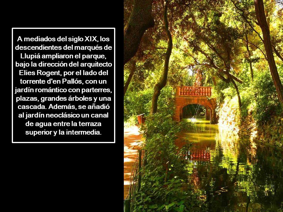 A mediados del siglo XIX, los descendientes del marqués de Llupiá ampliaron el parque, bajo la dirección del arquitecto Elies Rogent, por el lado del torrente d en Pallós, con un jardín romántico con parterres, plazas, grandes árboles y una cascada.