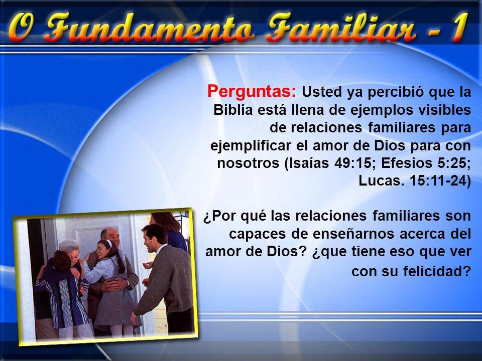 Perguntas: Usted ya percibió que la Biblia está llena de ejemplos visibles de relaciones familiares para ejemplificar el amor de Dios para con nosotros (Isaías 49:15; Efesios 5:25; Lucas. 15:11-24)