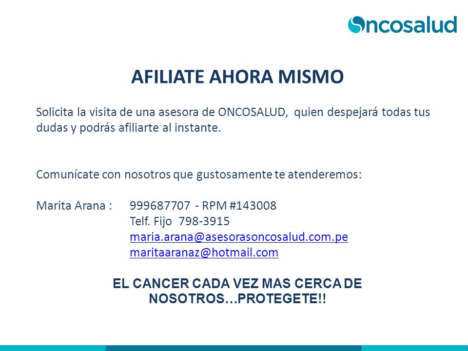EL CANCER CADA VEZ MAS CERCA DE NOSOTROS…PROTEGETE!!