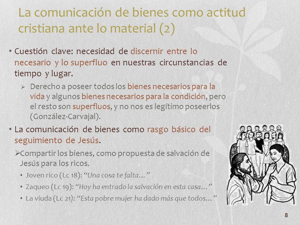 La comunicación de bienes como actitud cristiana ante lo material (2)