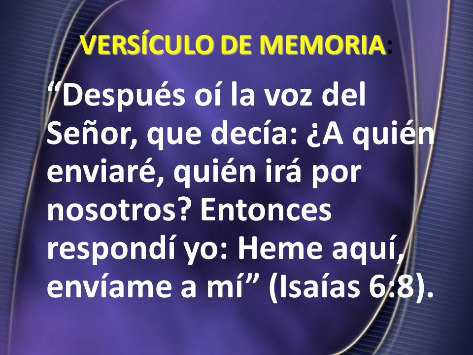 VERSÍCULO DE MEMORIA: