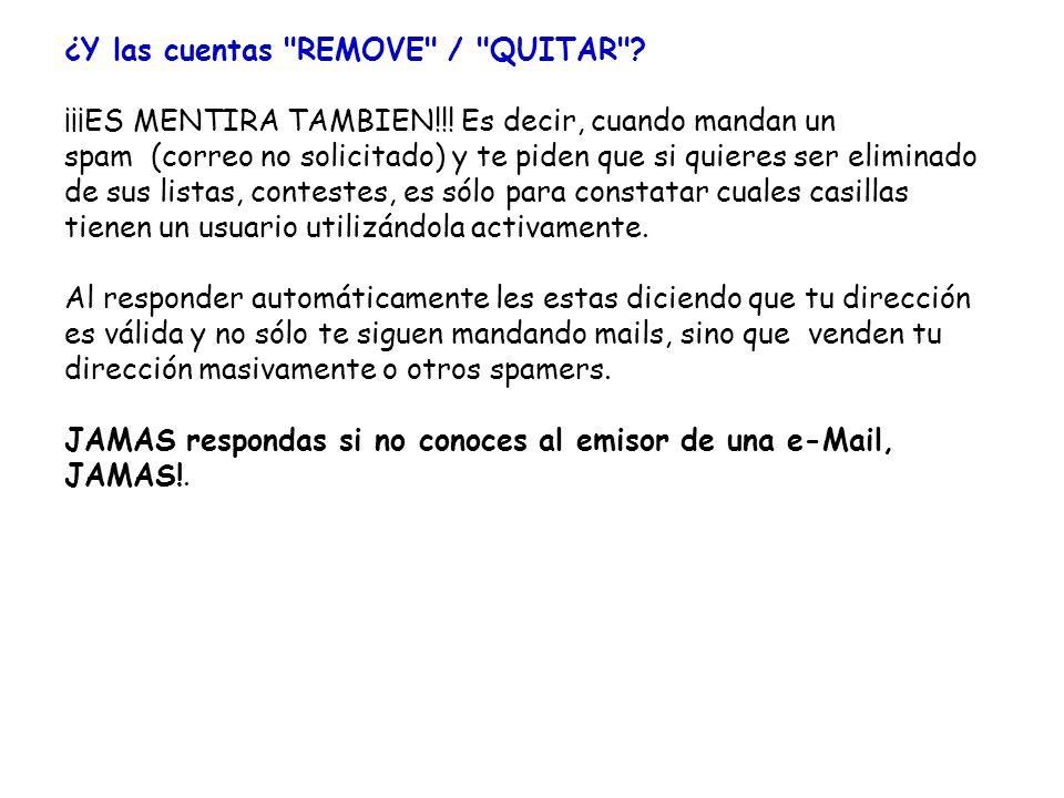 ¿Y las cuentas REMOVE / QUITAR