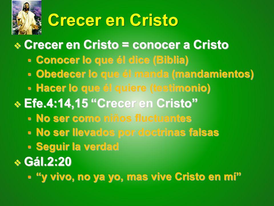 Crecer en Cristo Crecer en Cristo = conocer a Cristo