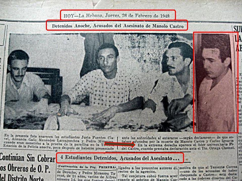 FIDEL CASTRO COMENZO PUBLICAMENTE SU CARRERA CRIMINAL