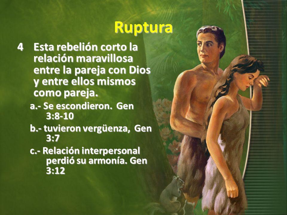 Ruptura Esta rebelión corto la relación maravillosa entre la pareja con Dios y entre ellos mismos como pareja.