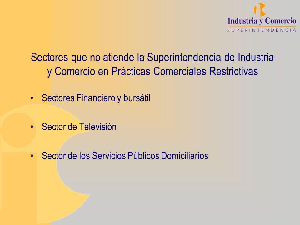 Sectores que no atiende la Superintendencia de Industria y Comercio en Prácticas Comerciales Restrictivas