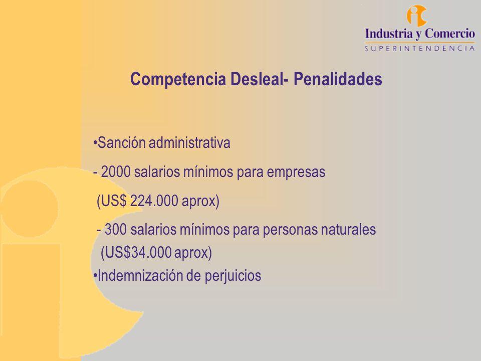 Competencia Desleal- Penalidades