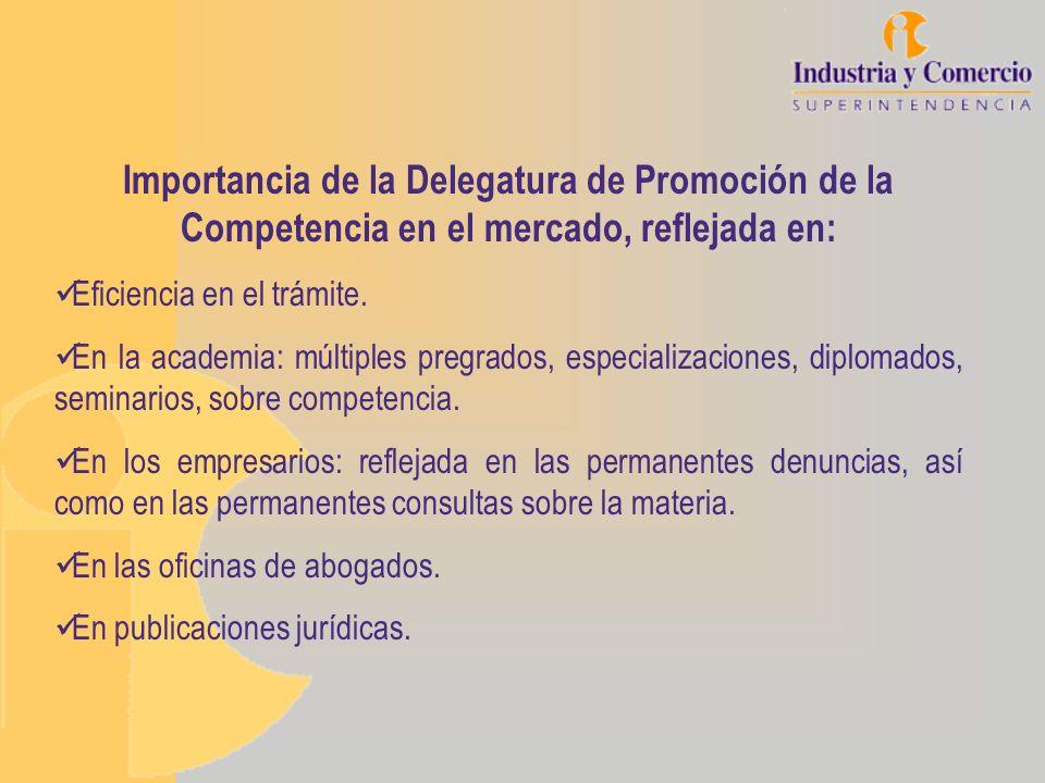 Importancia de la Delegatura de Promoción de la Competencia en el mercado, reflejada en: