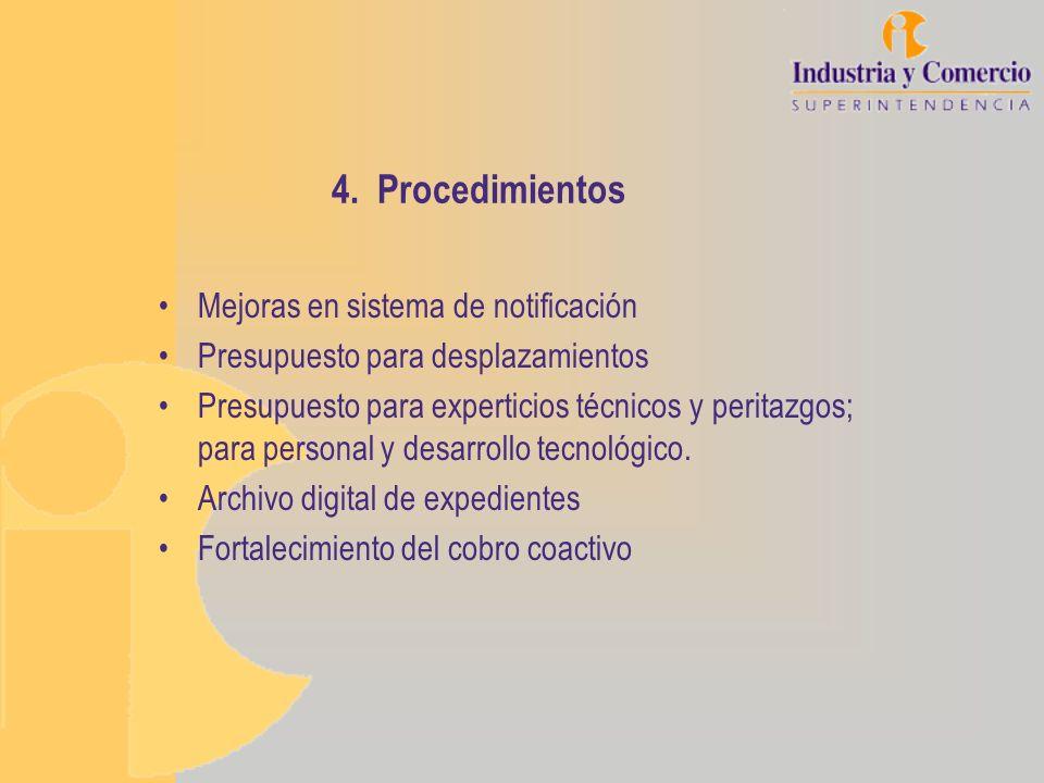 4. Procedimientos Mejoras en sistema de notificación
