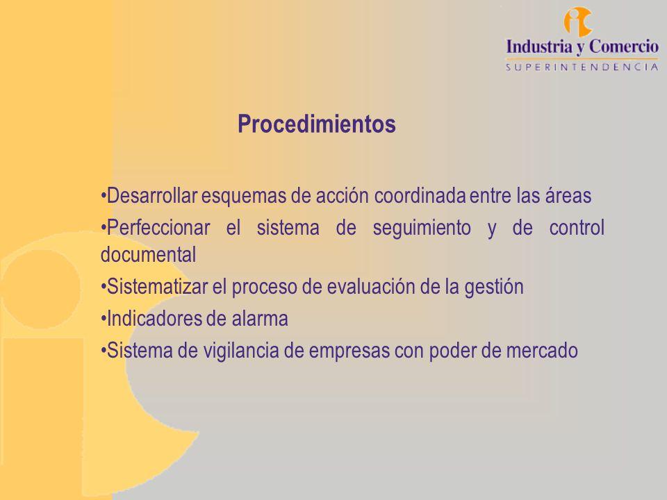 Procedimientos Desarrollar esquemas de acción coordinada entre las áreas. Perfeccionar el sistema de seguimiento y de control documental.