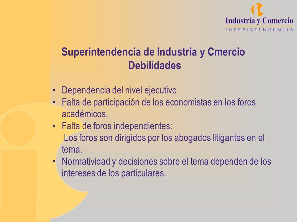 Superintendencia de Industria y Cmercio Debilidades