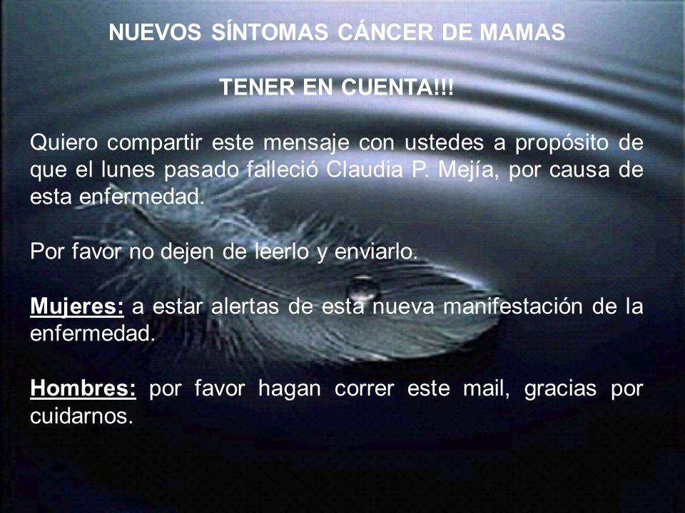 NUEVOS SÍNTOMAS CÁNCER DE MAMAS